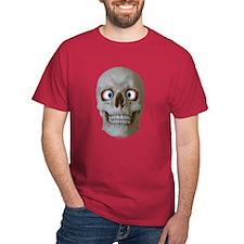 Halloween Cross-Eyed Skull Dark Red T-Shirt