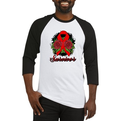 AIDS HIV Survivor Rose Tattoo Baseball Jersey