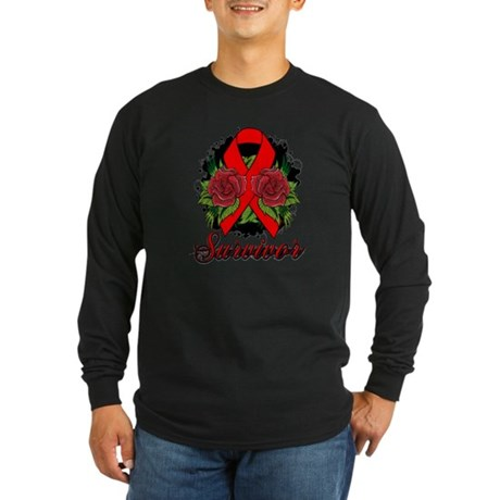 AIDS HIV Survivor Rose Tattoo Long Sleeve Dark T-S