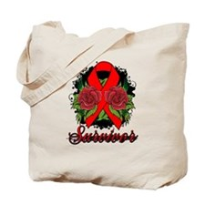 AIDS HIV Survivor Rose Tattoo Tote Bag