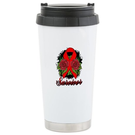 AIDS HIV Survivor Rose Tattoo Ceramic Travel Mug