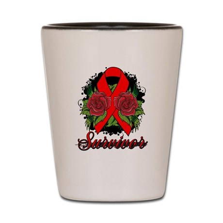 AIDS HIV Survivor Rose Tattoo Shot Glass