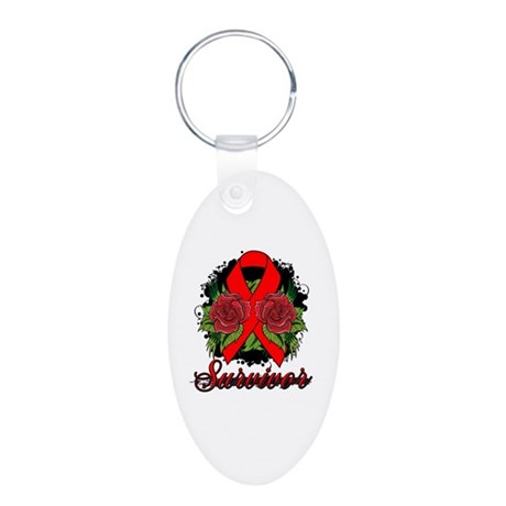 AIDS HIV Survivor Rose Tattoo Aluminum Oval Keycha