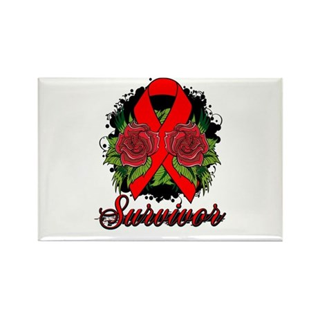 AIDS HIV Survivor Rose Tattoo Rectangle Magnet