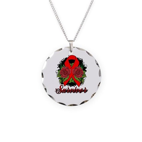 AIDS HIV Survivor Rose Tattoo Necklace Circle Char