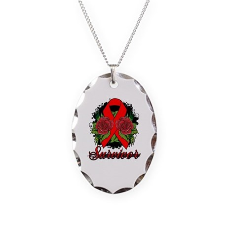 AIDS HIV Survivor Rose Tattoo Necklace Oval Charm
