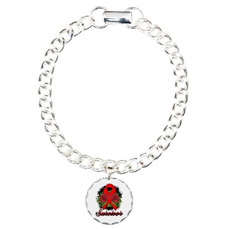 AIDS HIV Survivor Rose Tattoo Charm Bracelet, One