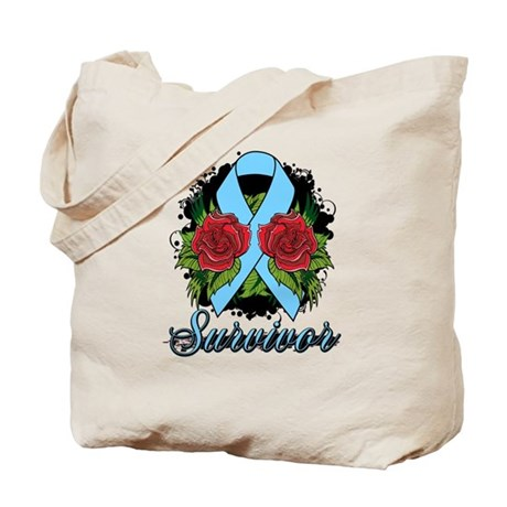 Prostate Cancer Survivor Rose Tattoo Tote Bag