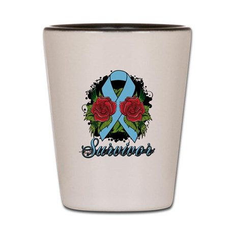 Prostate Cancer Survivor Rose Tattoo Shot Glass