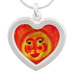 Sun Face Silver Heart Necklace