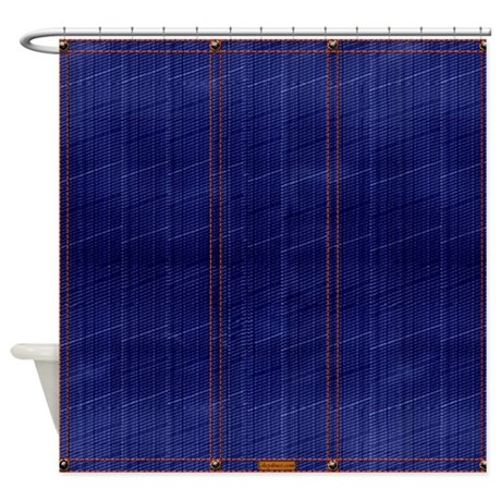 Blue Denim Dark Shower Curtain By Cheylines