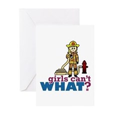 Firefighter Girls Greeting Card