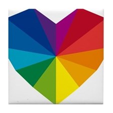 colorful geometric heart Tile Coaster