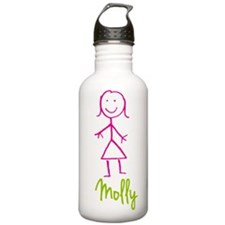 Molly-cute-stick-girl.png Sports Water Bottle
