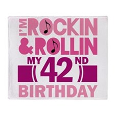 42nd Birthday rock and roll Throw Blanket