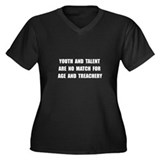 Age Treachery Women's Plus Size V-Neck Dark T-Shir