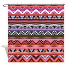 Pink Aztec Design, Shower Curtain