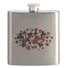 Scattered Card Suits Flask
