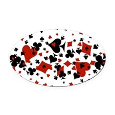 Scattered Card Suits Oval Car Magnet