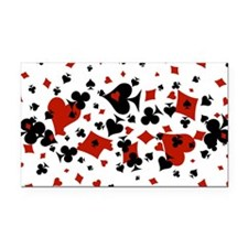 Scattered Card Suits Rectangle Car Magnet