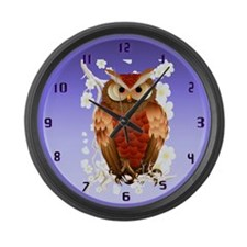 Bright Brown Owl-White Blooms wallclock Large Wall