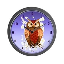 Bright Brown Owl-White Blooms wallclock Wall Clock