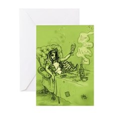 Alice Drinks Absinthe Now Greeting Card