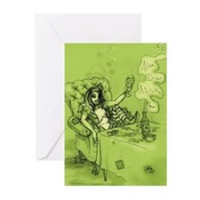 Alice Drinks Absinthe Now Greeting Cards (Pk of 10