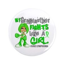 "Fights Like a Girl 42.9 Lymphoma 3.5"" Button (100"