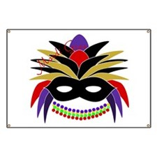 Mardi Gras Feather Mask Banner