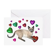 Cat Hearts Love Greeting Card