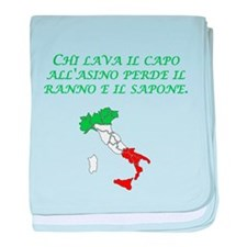 Italian Proverb Head Of An Ass baby blanket