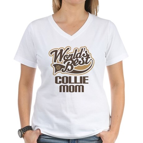 Collie Mom (Worlds Best) Women's V-Neck T-Shirt