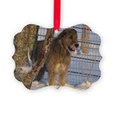 Handsome Wolfhound and Snow Picture Ornament