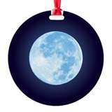 Blue Full Moon Round Ornament