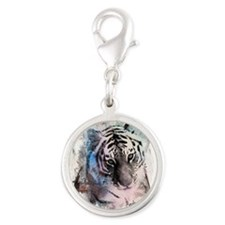 Pastel Painted Tiger Silver Round Charm
