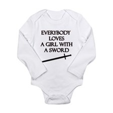 Girl With a Sword Long Sleeve Infant Bodysuit