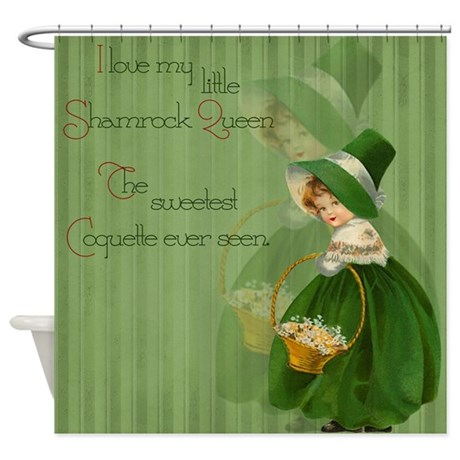 Shamrock queen shower curtain by vintagelove1 for Queen bathroom decor