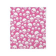 Random Pink Skulls Throw Blanket
