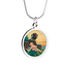 Saint Bernard Silver Round Necklace