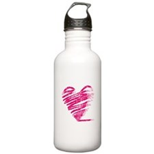 Grungy heart drawing Water Bottle