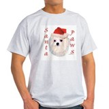 Santa Paws Maltese Ash Grey T-Shirt