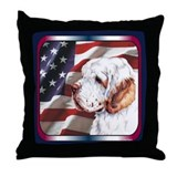 Clumber Spaniel US Flag Throw Pillow