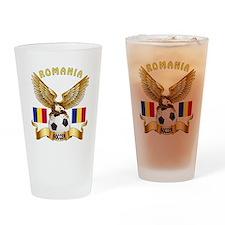 Romania Football Design Drinking Glass