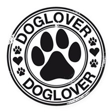 Dog lover with pawprint Round Car Magnet