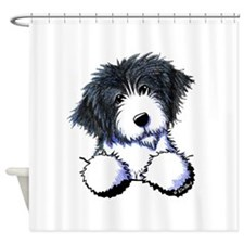Pocket Bearded Collie Shower Curtain
