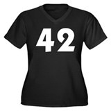 42 (White) Women's Plus Size V-Neck Dark T-Shirt