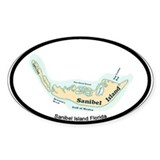 Sanibel Island - Map Design. Decal