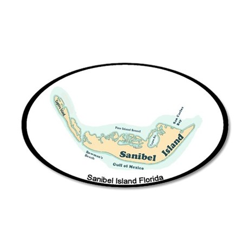 Sanibel Island - Map Design. 20x12 Oval Wall Decal