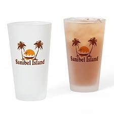 Sanibel Island - Palm Trees Design. Drinking Glass